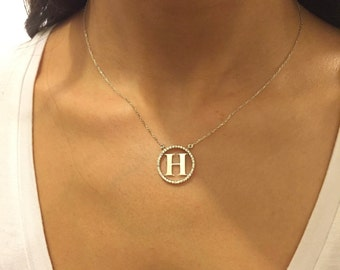 Initial Necklace ~ Initial Letter Necklace ~  Initial Disc Necklace ~  Personalized Necklace ~ Mothers Gif  ~  Personalized Jewelry