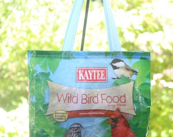Upcycled/Recycled Reusable Bird Seed Sack Tote Shopping Bag