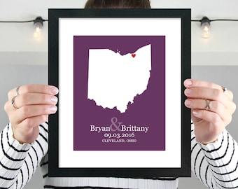Ohio State Map, Ohio Map Wall Art, Personalized Ohio Wedding, Engagement, Anniversary, Bridal Shower Gift, Cleveland, Columbus -  Art