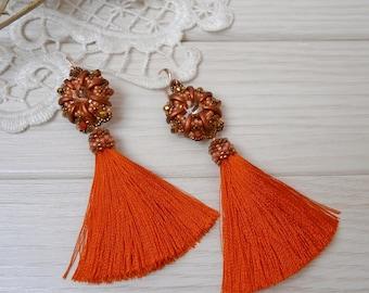 Bright orange tassel earrings, fringe boho earring, Exclusive handmade summer jewelry, long statement earrings, birthday gift