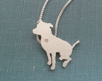 Pitbull Dog Necklace, Sterling Silver Sitting Pit Bull Personalize Small Pendant, Breed Silhouette Charm, Rescue Shelter, Memorial Gift