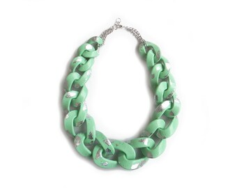 Mint Statement Necklace, Chunky Chain Necklace, Mint Silver Link Necklace