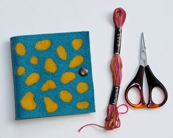 Needle book / Sewing Needle Case - felt, needle felted, bright spotty tropical fish pattern