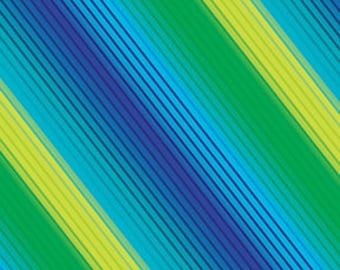 Diagonal Stripe Blue Green Kanvas Benartex Fabric 1 yard