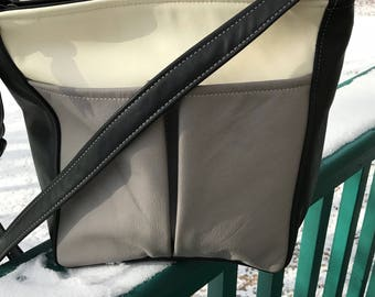 Beautiful multi-color purse, cream, taupe and black color Rita style, large leather  handbag, made in the USA, leather purse for spring and