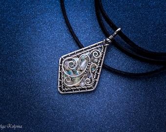 Silver necklace Ethiopian opal pendant Wire wrapped necklaces Ethiopian opal gift for her OOAK