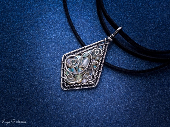 Silver necklace ethiopian opal pendant wire wrapped necklaces like this item mozeypictures Choice Image