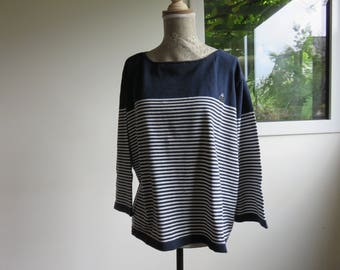 TALLA MODA Sweater - El Corte Ingles - 3/4 Sleeves - Blue and White - T.44