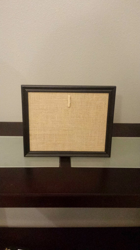 Black Wood Picture Frame with Burlap Mat and Clip - Chevron or Plain ...