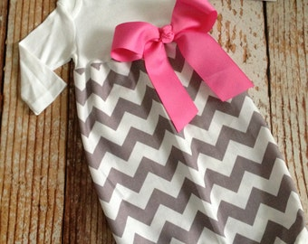 Newborn Layette, Infant Gown, Baby Gown - Girl - Riley Blake Chevron - Gray