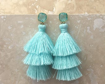 Aquamarine Gemstone Earrings, Seafoam Tassel Earrings,Aqua Blue Gemstone Earrings, Tassle Earrings, Aqua Drop Earrings, Christmas Gift