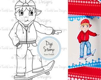 Skateboarding, Digi Stamp, Skateboard, Boy Digital Stamp, Sports, Colouring Page, Cool Dude, Black and White, Papercrafting Stamp, Hobbies