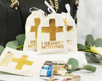 """5x7"""" Bachelorette First Aid Bags - Glamour White and Gold Foil Cross Hangover Kit Bags"""