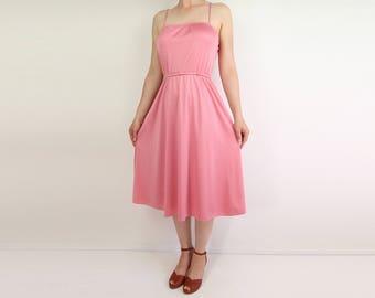 VINTAGE Pink Dress 1970s Disco Dress