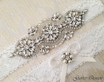Wedding Garter Set, Bridal garter Set, Rhinestone Garter, Lace Wedding Garter, Crystal Garter, Ivory Lace Garter Set