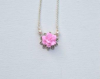 Bradley Delicate Pink Cherry Blossom Necklace. Sakura Necklace. Pink Spring Flower Necklace.