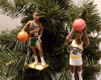 Seattle Supersonics Gary Payton Shawn Kemp  Sonics SEE DESCRIPTION basketball Christmas sports ornament