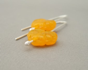 CLEARANCE - Yellow Autumn Leaf Czech Glass and Sterling Silver Modern Earrings