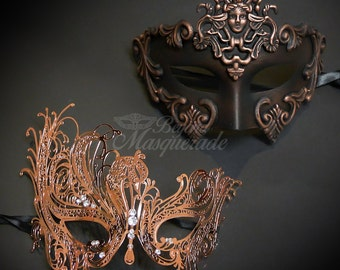 New! Couples Masquerade Masks, His & Hers Masquerade Masks - Bestselling Rose Gold Roman Mask and Laser Cut Masquerade Mask with Diamonds