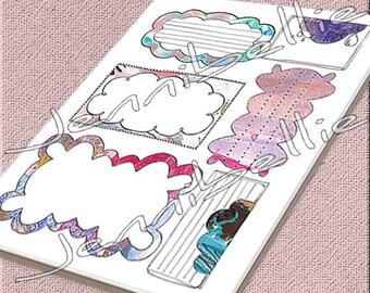 Artful Journal Spots (Clouds) Digital Collage Sheet