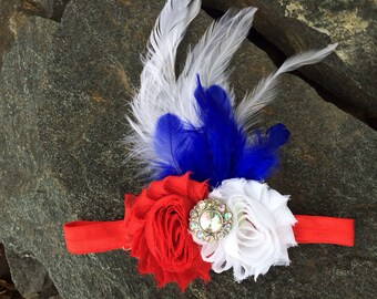 4th of July Patriotic Shabby Flower Headband