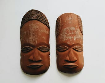 Vintage Pair of Carved Wooden African Masks - Wood Tribal Decor - Global Bohemian Decor