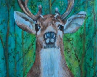 Deer Painting Acrylic Deer Painting Wildlife Painting Deer Art Deer Wall Art Deer In Forest Painting