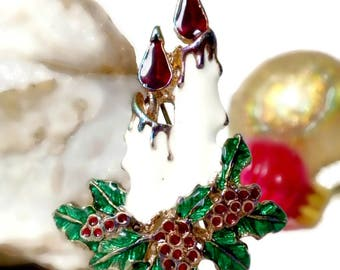 Christmas Candle Pin, Holly Brooch, Holiday Brooch, Christmas Pin, Holiday Pin, Christmas Jewelry, Winter Jewelry, Holiday Jewelry, Vintage