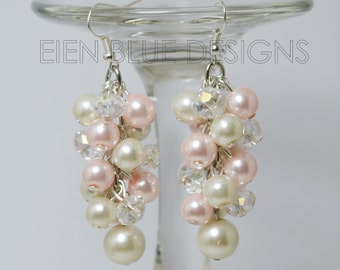 Pearl Cluster Earrings, Pink and Ivory Cluster Earrings, Ivory Cluster Earrings, Ivory and Pink Wedding Combo, Pearl Cluster Earrings