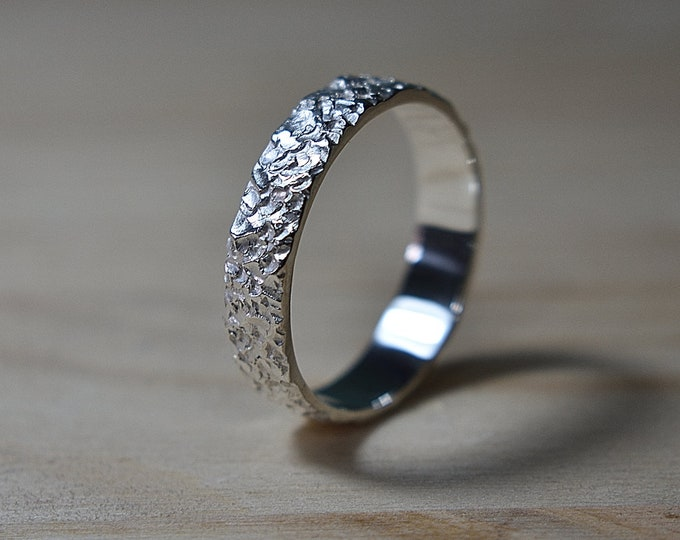 Featured listing image: Meteorite Silver Ring Men, Mens Rustic Wedding Ring, Mens Silver Wedding Ring for Men, Wedding Band for Men, Textured Silver Wedding Band