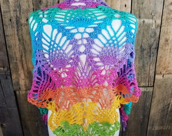 Unicorn Summer Shawl | Rainbow Pineapple Scarf | Colorful Summer Wrap | Ready to Ship | Gift for Her | Light Weight Cotton Scarf