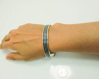 Sterling Silver Cuff - Sterling Cuff Bracelet - Womens Cuff - Mens Cuff - Wide Silver Cuff - Thick Silver Cuff - Sterling Black Cuff