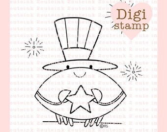 4th of July Crab Digital Stamp for Card Making, Paper Crafts, Scrapbooking, Hand Embroidery, Invitations, Stickers, Coloring Pages