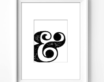 wall art printable, art print, wall decor, office decor, home decor, printable art, graphic art, instant download, ampersand, typography