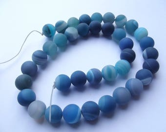 38 RUIZ 603 10 mm matte frosted blue agate smooth round beads