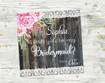 Asking Bridesmaid Will You Be My Bridesmaid Proposal Gift Will You Be My Bridesmaid Puzzle Invitation Asking Flower Girl Jigsaw Puzzle Gift