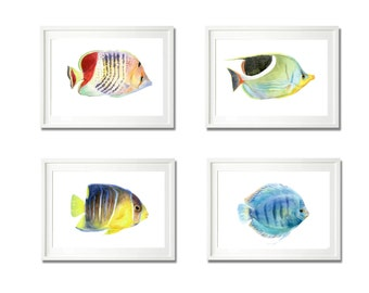 Firsh Prints, Set of 4 Prints, watercolor print, fish print set of 4 art , animal print, children wall art