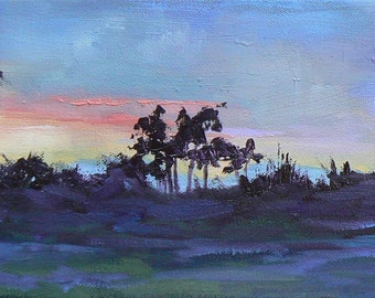 "Painting on Sale, Tropical  Sunset Painting, 6x18 Landscape  Painting , Florida Painting,""As Evening Fell"", Reduced from 225.00"