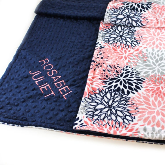 Baby Blanket Girl, Navy Coral Minky Personalized Baby Blanket, Flowers Nursery Decor, Floral Name Baby Blanket, Coral Baby Blanket, Floral