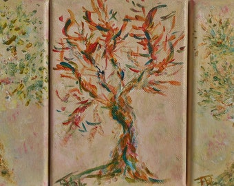 Contemporary acrylic painting on canvas triptych in trees