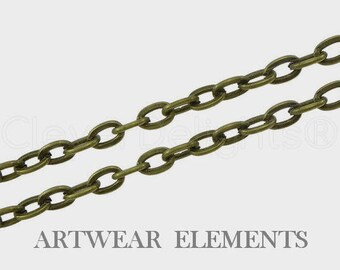 Antique Army Green Cable Chain, Per Yard, Necklace Chain, Jewelry Chain, Pendant Chain, 3mm x 4mm Oval Links, Bulk Chain, ArtWear Elements
