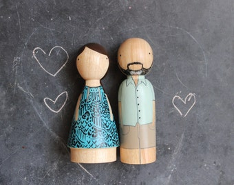 Boy Meets Girl // Personalized Wooden Peg Dolls // 5 Year Anniversary Wood Gift Goose Grease - wooden dolls Fair Trade