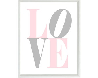 Nursery Art - LOVE Wall Art - Gray Pink White Decor -  Baby Girl Room - Toddler Room - Playroom - Modern Wall Art Kids -  -  Print