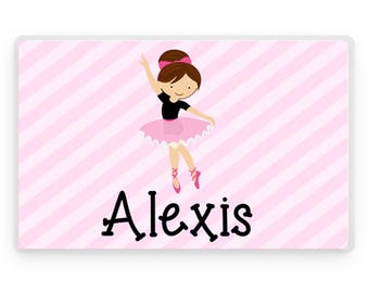 Personalized Placemat, Kids Placemat, Ballerina Placemat, Childs Placemat, Laminated Placemat, Personalized Gift, Kids Gift, Childrens Gift
