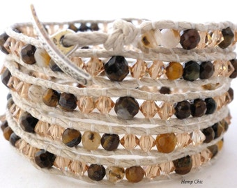 Handmade Five Wrap Bracelet, Hemp Wrap Bracelet with Faceted Tiger Eye and Champagne Swarovski Elements