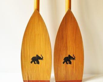 Vintage Wooden Canoe/Kayak Oars- Boat Paddles with Elephant Figurine