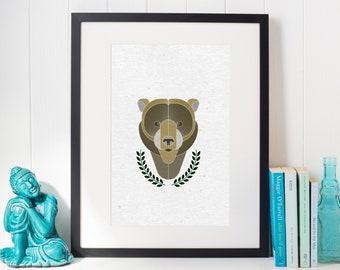 Bear Digital Print; Woodland Themed