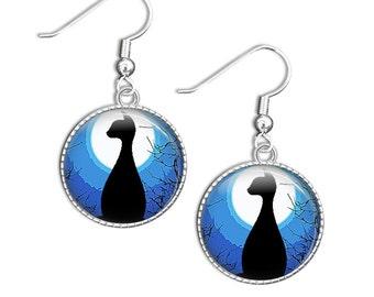 Cat earrings - Blue Cat Earrings - Black Cat Earrings - Cat Dangle Earrings - Cat Drop Earrings (CAT 1)