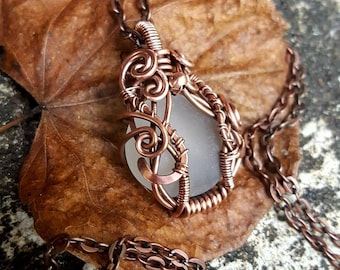 Dollhouse: frosted glass ornated pendant necklace in antiqued copper wire