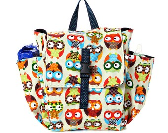 Toddler bag Cotton Children bag Kids day bag, diaper bag - Owl print
